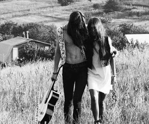 love, hippie, and black and white image