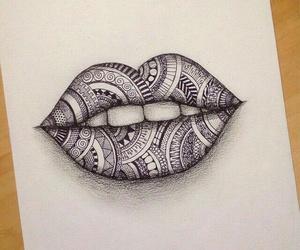 art, lips, and drawing image