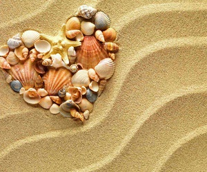 beach, love, and heart image