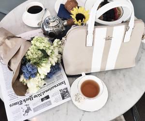coffee, flowers, and tea image