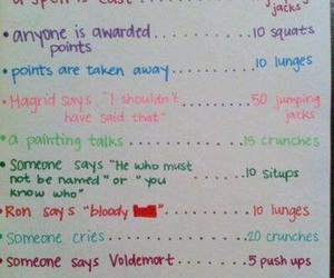 harry potter, workout, and work out image