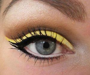eyes, yellow, and make up image