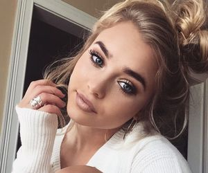 blonde, eyes, and makeup image