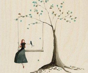 bird, girl, and tree image