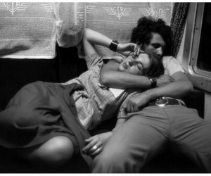 black ans white, movies, and couple image