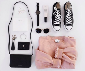 fashion, black, and pink image