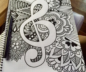 drawing, music, and art image