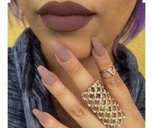 nails, makeup, and lips image