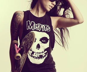 girl, tattoo, and skate image