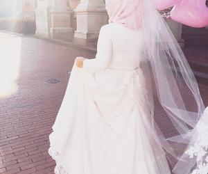 bride, hijab, and pink image
