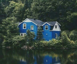 house, nature, and blue image