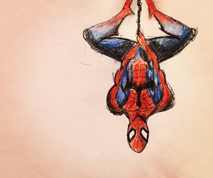 sketch, spider-man, and upside down image