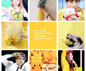 moodboard, red velvet, and yellow image