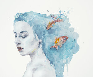 art, fishes, and watercolor image