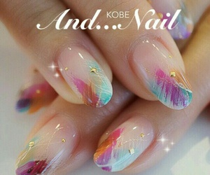 french, multicolor, and nails image