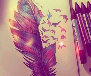 drawing, feather, and bird image