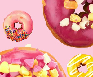 android, pink, and donuts image