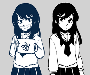 fake smile, flower, and maizono sayaka image