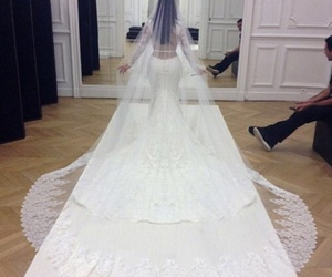 kim kardashian, wedding, and dress image