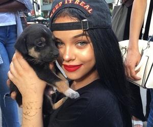 girl, dog, and beauty image