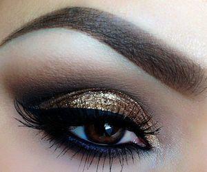 makeup, make up, and gold image