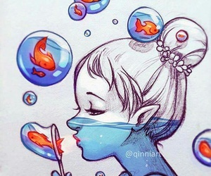 bubbles, draw, and fish image