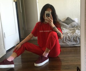 red, girl, and outfit image