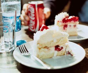 cake, food, and coke image