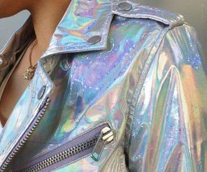 jacket, holographic, and grunge image