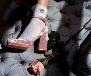 pink, shoes, and velvet image