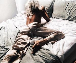 bed, girl, and sleep image