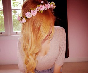 blonde, hair, and flowerscrown image