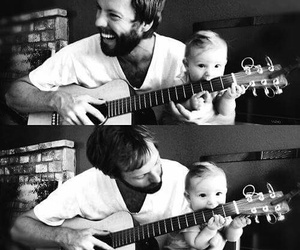 black and white, cute, and loving father image