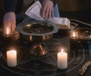 candles, spell, and witch image