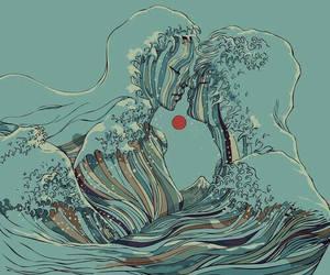 art, ocean, and waves image