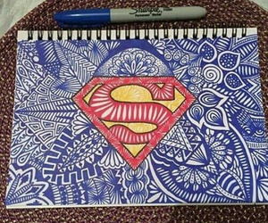 superman, art, and drawing image