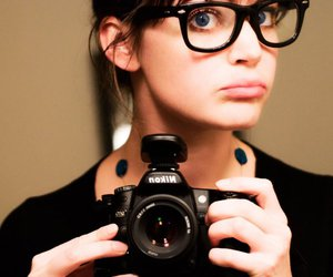 big glasses, girl with camera, and camera image