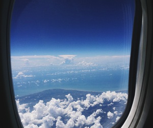 blue, cloud, and plane image