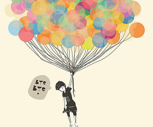 balloons, boy, and bye image