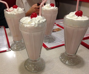milkshake, cherry, and pink image