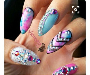 design nails diamond and pink blue coffin image
