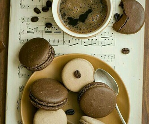 coffee, macarons, and music image