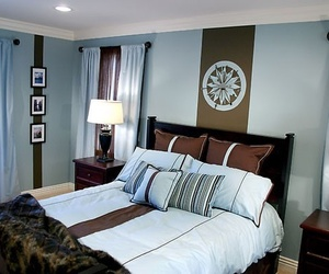 bedroom, decoration, and blue image