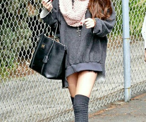 selena gomez, black leather purse, and grey knee high socks image