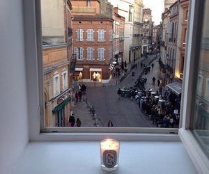 city, candle, and window image