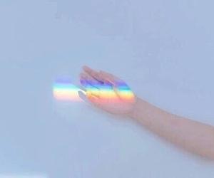 rainbow, aesthetic, and hand image