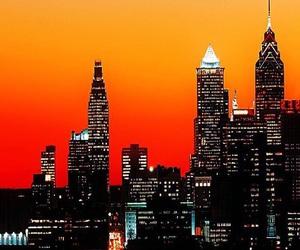 city, sunset, and orange image