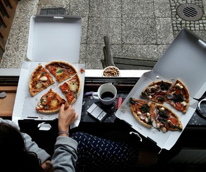 girls, pizza, and style image