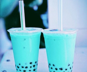 drink, blue, and boba image