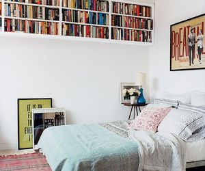 bedroom, book, and bed image
